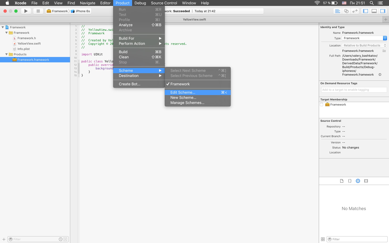 Edit scheme menu
