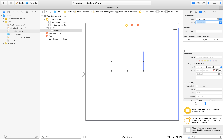 Framework storyboard usage